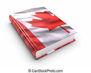 Book covered with Canadian flag. Clipping path included.