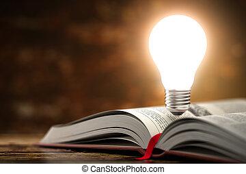 book., creatività, idea, aperto, 3, bulbo, luce, concetto, fondo.