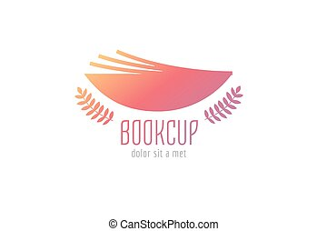 Book cup template logo icon. Back to school. Education, university, college symbol or knowledge, books stack, publish, page paper. Design element. Isolated on white.