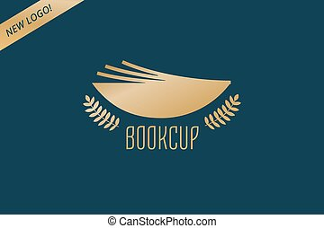 Book cup template logo icon. Back to school. Education, university, college symbol or knowledge, books stack, publish, page, paper. Design element.
