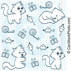 book), cute, (coloring, caricatura, gatos