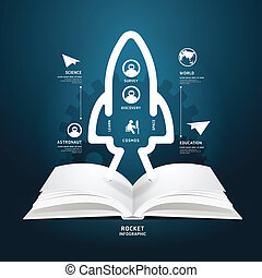 book diagram creative paper cut aerospace infographics style...