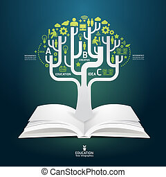 book diagram creative paper cut style template / can be used...