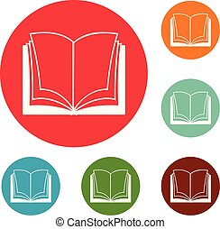 Book dictionary icons circle set vector