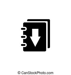 Book Download Flat Vector Icon