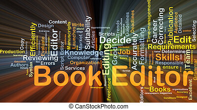 Book editor background concept glowing