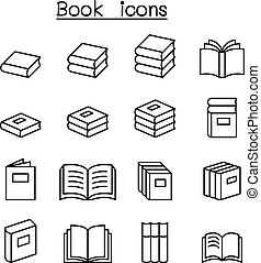 Book & Education icon set in thin line style