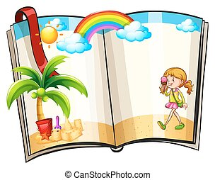 Book - Pages in a book with summer theme border