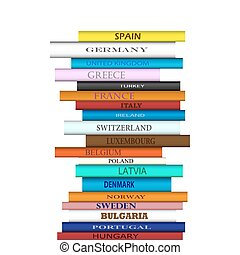 Tower of books with different European travel destinations