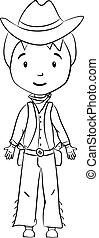 book:, färbung, zeichen, karikatur, cowboy
