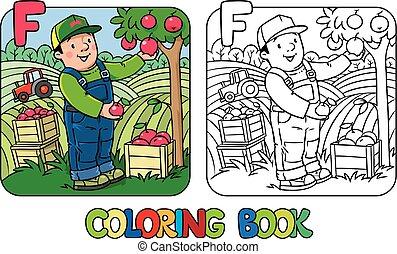 book., farmer, alfabet, alfabet, f., kleuren, beroep