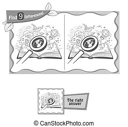 book find 9 differences black - visual game for children and...
