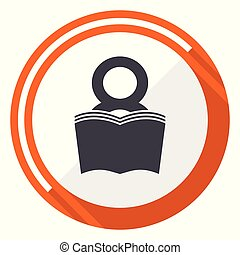 Book flat design vector web icon. Round orange internet button isolated on white background.