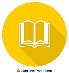 book flat design yellow web icon