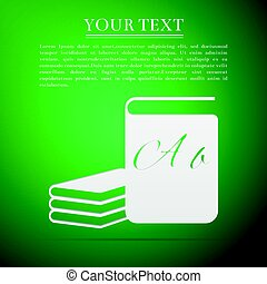 Book flat icon on green background. Vector Illustration