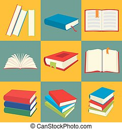 Book flat icon set