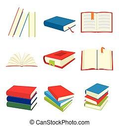 Book flat icons set