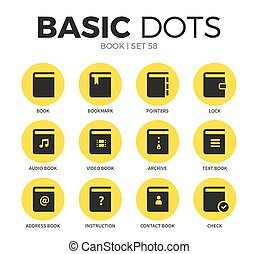 Book flat icons vector set