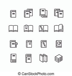 Book flat line icons design set.