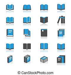 book flat with reflection icons