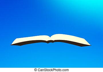 Book flying in blue sky, 3D illustration