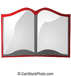 Book - Glossy illustration of an open book with red cover
