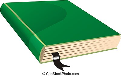 Green book with a pagemarker