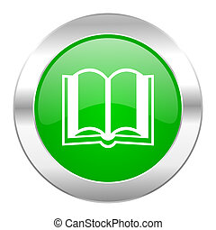 book green circle chrome web icon isolated