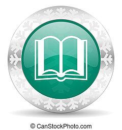 book green icon, christmas button