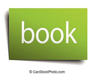 book green paper sign on white background