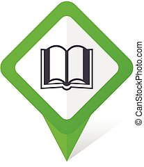 Book green square pointer vector icon in eps 10 on white background with shadow.