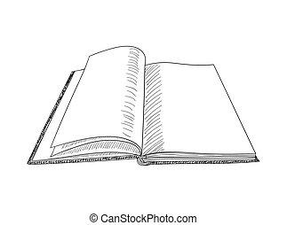 Book hand drawn sketch. Vector illustration.