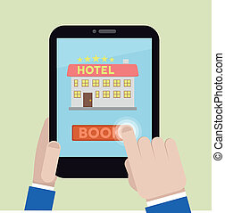 book hotel room - minimalistic illustration of booking a...