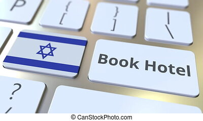 BOOK HOTEL text and flag of Israel on the buttons on the...