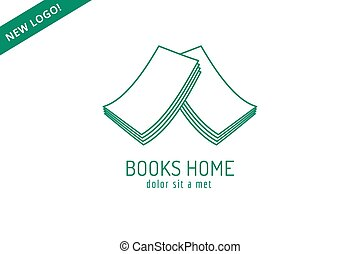Book house roof template logo icon. Back to school. Education, university, college symbol or knowledge, books stack, publish, page paper. Design element. Isolated on white.