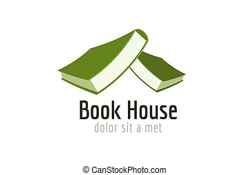 Book house roof template logo icon. Back to school....