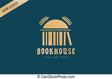 Book house template logo icon. Back to school. Education, university, college symbol or knowledge, books stack, publish, page, paper. Design element.