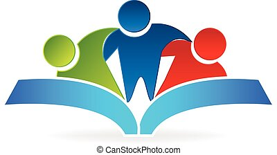 Book hug people logo graphic vector illustration