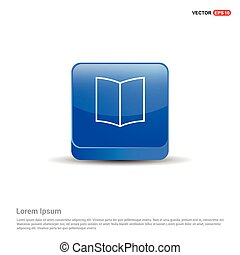 book icon - 3d Blue Button