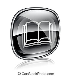 book icon black glass, isolated on white background.
