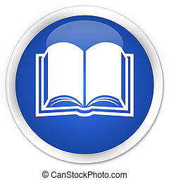 Book icon blue glossy round button