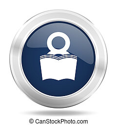 book icon, dark blue round metallic internet button, web and mobile app illustration