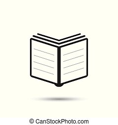 Book icon. Flat vector illustration. Book sign symbol with shadow on white background.