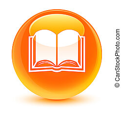 Book icon glassy orange round button