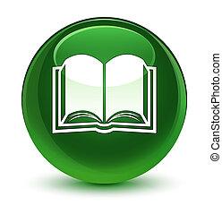 Book icon glassy soft green round button