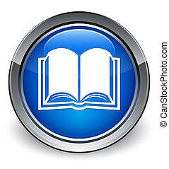 Book icon glossy blue button