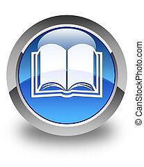 Book icon glossy blue round button
