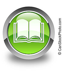 Book icon glossy green round button