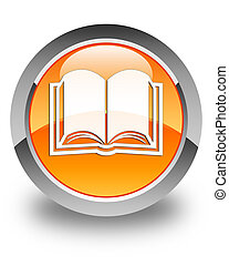 Book icon glossy orange round button