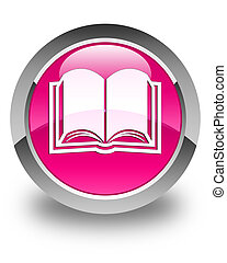 Book icon glossy pink round button